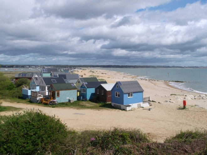 Mudeford Spit, at the far end of Hengistbury Head, spearing in towards the mainland