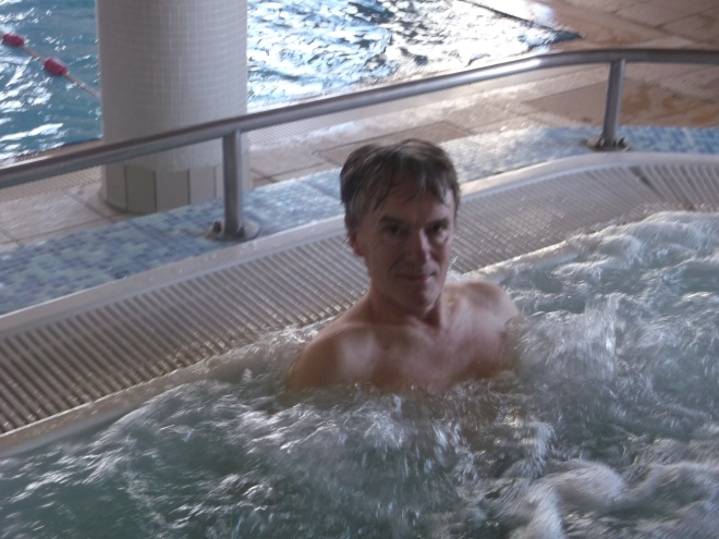 In the hotel spa jacuzzi, feeling completely relaxed and ready for what's to come...