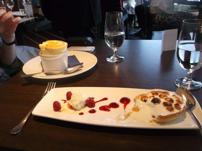 The finest lemon meringue I've ever tasted, with lemon sorbet and raspberries dans leur coulis...