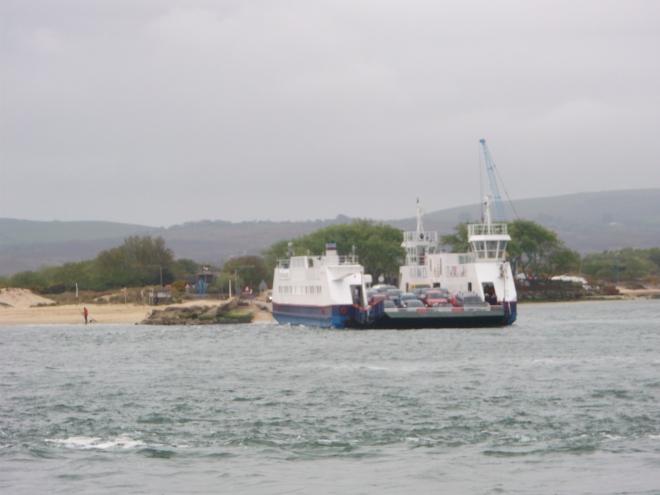 Sunday morning. Sandbanks chain ferry against a Ravilious sky