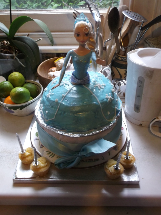 The birthday cake. Inevitably featuring Elsa from 'Frozen.' Expertly created by Grandma